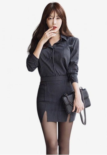 9fbe2e7ed7 Sunnydaysweety black Pinstripe Side Slit Two Piece Dress A120525  SU219AA0GX42SG 1