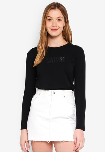 Calvin Klein black Long Sleeve New Fa Straight Tee - Calvin Klein Jeans FA931AADAF5999GS_1