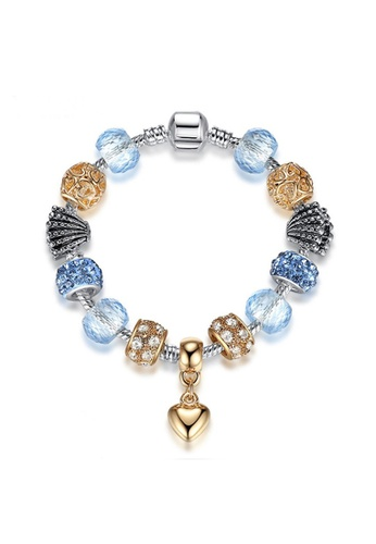 YOUNIQ blue and silver and gold YOUNIQ Silver Gold Charm Bracelet with Deep Blue Sea Shell Pendant Pink Crystal Beads - 18cm 24CFFAC39AEDD1GS_1