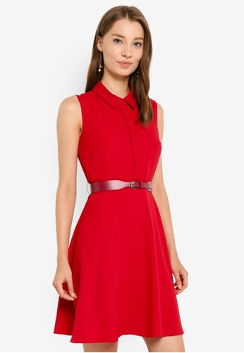 G2000 red Buttoned Down Belted Sleeveless Dress E6B81AA691F399GS_1