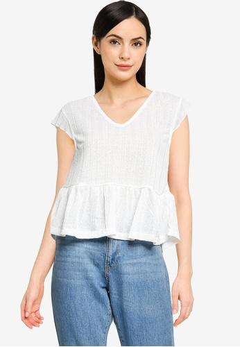 Mango white Textured Flowy Top 7B420AA99E837BGS_1