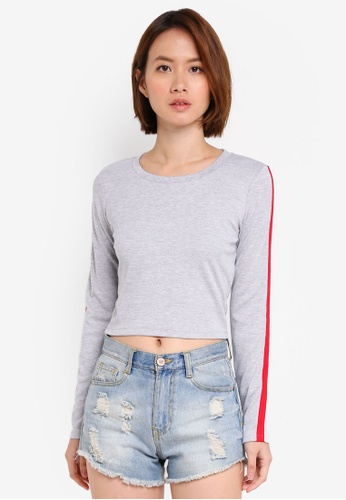 Supre grey Long Sleeve Fitted Top 766E0AAD404672GS_1