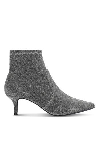 Dorothy Perkins silver Silver Marni Kitten Boots DO816SH0RJR3MY_1