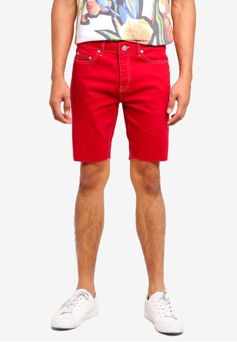 Topman red Red Denim Stretch Skinny Shorts CE2BFAA4CF1043GS_1