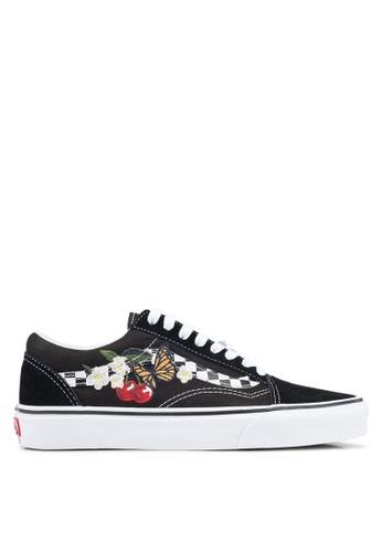 VANS black Old Skool Checker Floral Sneakers 848CESH74DD292GS_1