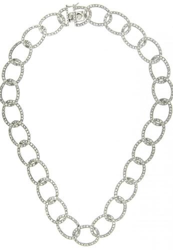 Silverworks silver Zirconia Stone w/ Chain Design Necklace SI696AC98TVXPH_1