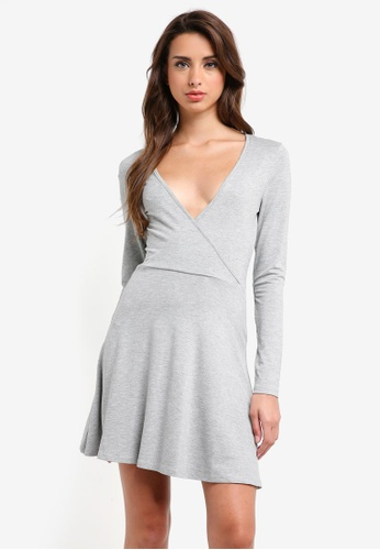 MISSGUIDED grey Long Sleeve Jersey Wrap Skater Dress D4754AA5B0815CGS_1
