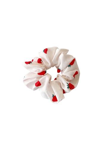 Glamorbit white Strawberry White Hair Tie Scrunchies 3EBEFAC75F6F5FGS_1
