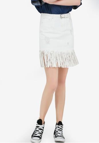 Hopeshow white Denim Skirt With Tassels CB9A9AAB359578GS_1