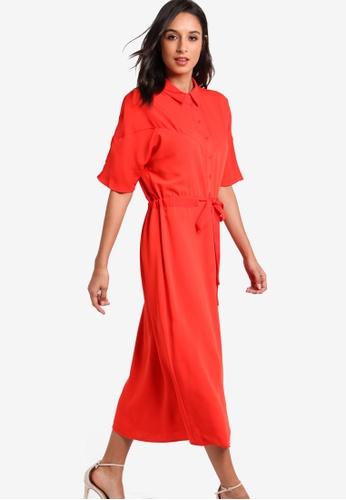 WAREHOUSE red Seam Detail Midi Dress WA653AA15EYMMY_1