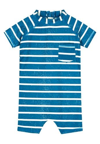 Shiwi blue Fresh Stripe Playsuit 3703FKA7A17D58GS_1