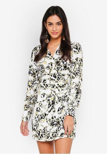 TOPSHOP white Chain Jacquard Wrap Dress 61FC1AA461A128GS_1