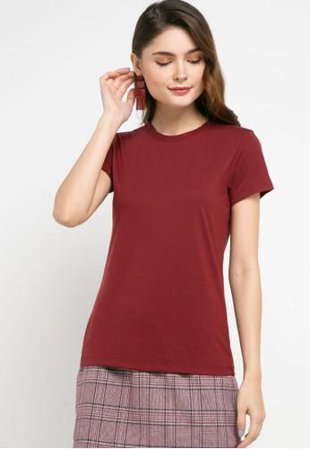 Tolliver red Round Neck Basic Short Sleeve Tee EC37BAAFBF02CBGS_1