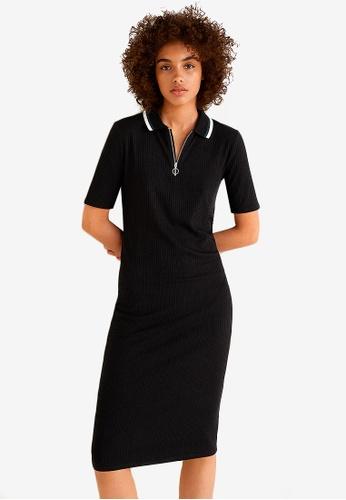Mango black Ribbed Midi Dress 42D2BAAFFD0249GS_1