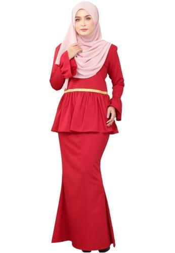 Kurung Peplum Marisa (AEPM01 Red Chilli) from ANNIS EXCLUSIVE in Red