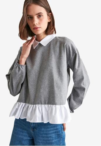 Trendyol grey Ruffle Detail Sweater Blouse 16147AA4A9BFF4GS_1