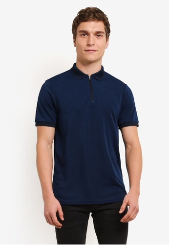 Burton Menswear London blue Petrol Zip Neck Smart Polo Shirt BU964AA0S9QTMY_1