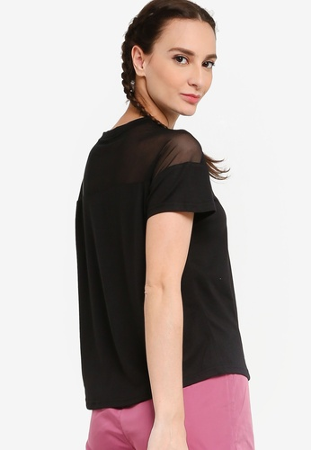 ZALORA ACTIVE black Mesh Detail Sports T-Shirt 9F390AAB01B5C0GS_1
