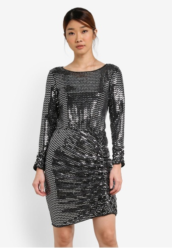 Miss Selfridge silver Mirror Glitter Ruched Bodycon Dress MI665AA0SD8EMY_1