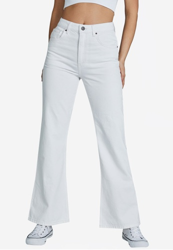 Cotton On white Relaxed Flare Jeans 098CAAAA4BD50CGS_1
