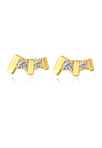 SUNRAIS gold High quality Silver S925 gold simple design earrings F90B5AC88B7103GS_1