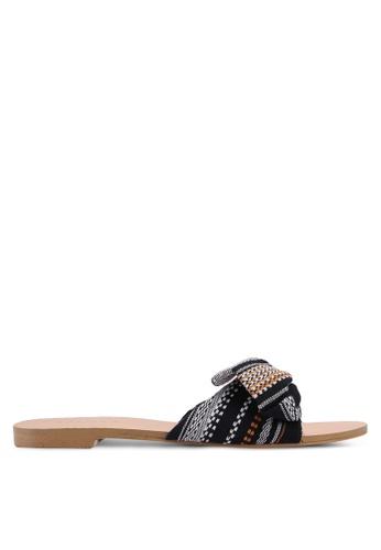ZALORA black Tweed Bow Sandals F90E6SH0A78CFAGS_1
