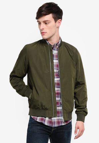 Burton Menswear London 綠色 Khaki Nylon Bomber Jacket C1C33AA392847DGS_1