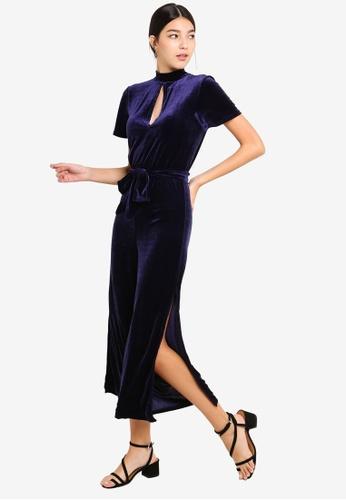 7ddb50bb6010 Miss Selfridge navy Keyhole Velvet Jumpsuit B93D5AA0CC2152GS 1