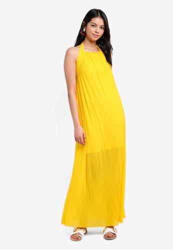 French Connection yellow Palmeira Plissé Maxi Dress 7838EAA0E5B07DGS_1