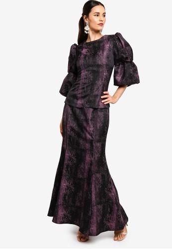 Zalia black Brocade Kurung With Juliet Sleeves 7EE7FAAA8E9141GS_1