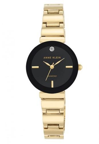 Anne Klein black and gold Anne Klein Women's AK-2434BKGB Diamond Dial Goldtone Polished Bracelet Watch AN844AC0S7GDMY_1