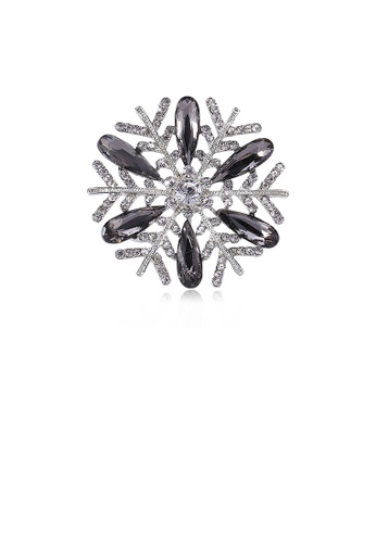 Glamorousky grey Fashion Bright Snowflake Brooch with Grey Cubic Zirconia 02B08ACC097234GS_1