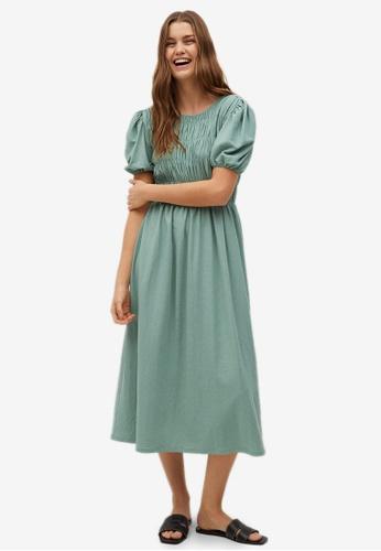 Mango green Ruched Detail Dress 7211DAA997B7F1GS_1