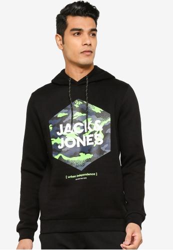 Jack & Jones black Prime Sweat Hoodie 9BE62AA375C7B2GS_1