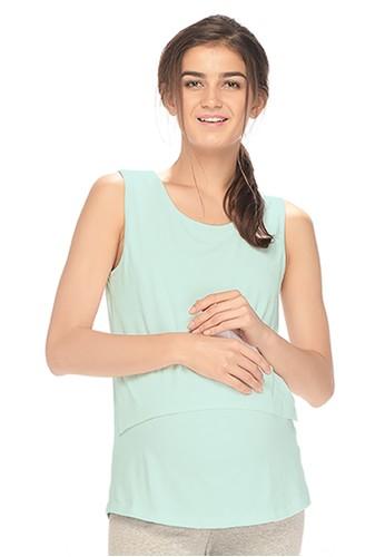 MOOIMOM white MOOIMOM Cotton Soft Maternity & Nursing Tank Top Ibu Hamil Menyusui - Green MO368AA90VAJID_1