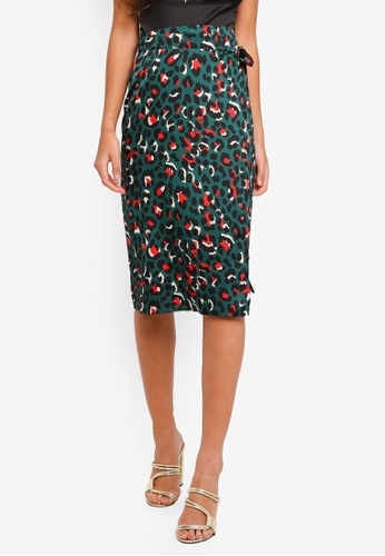 56fe26d2c524 MISSGUIDED green Green Leopard Print Tie Side Midi Skirt 54A6CAA4816058GS_1