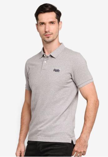 Superdry grey Classic Pique Polo Shirt E4CD8AA579BC12GS_1