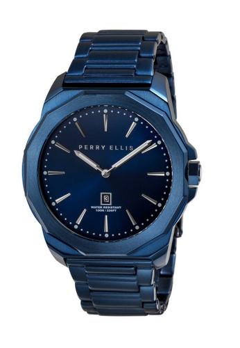 Perry Ellis blue Perry Ellis Decagon Men 46mm Quartz Stainless Steel Watch 05007-02 A99C4ACB77EA9FGS_1