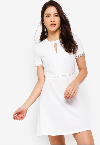 ZALORA white Fit And Flare Dress With Trims 252BAAA706E2F6GS_1