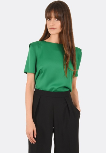 FORCAST green Claire Tucked Shoulder Top FO347AA0GFZ7SG_1