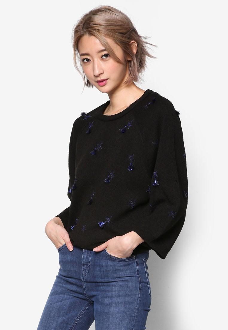 Tasseled Stars Knit Pullover