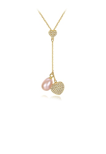 Glamorousky pink 925 Sterling Silver Fashion and Elegant Heart-shaped Tassel Pink Freshwater Pearl Pendant with Cubic Zirconia and Necklace E3DBAACF574455GS_1