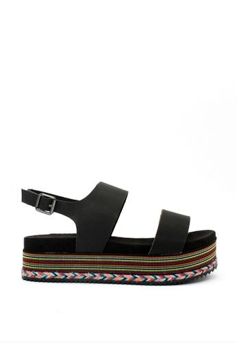 London Rag black Black Double Strap Platform Sandals 77F1ESHCD708BEGS_1