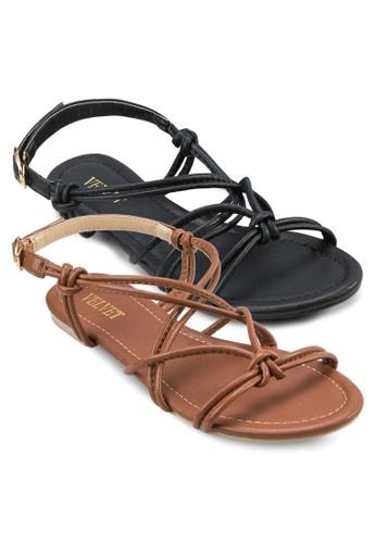 二入組Nadzalora 包包 pttia 多帶繞踝平底涼鞋, 女鞋, 涼鞋