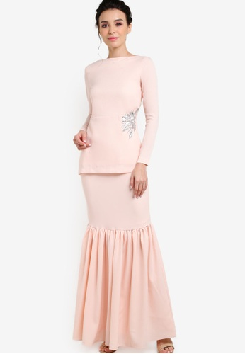 Mermaid Luxe orange Elegance Gathered Modern Kurung ME500AA73FQKMY_1