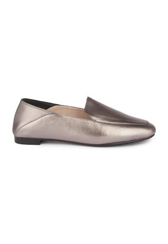 MAUD FRIZON silver Kid Leather Square Toe Loafers D7767SH5D9E191GS_1