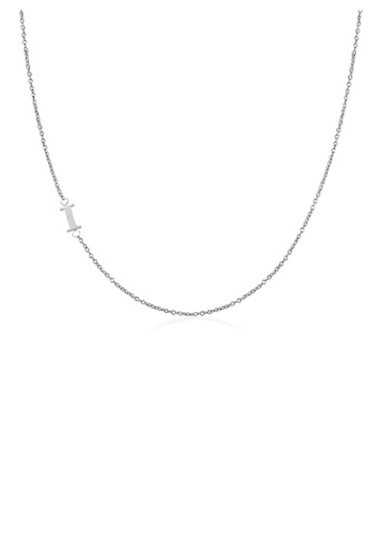 Moody Mood silver .925 Sterling Silver Sideway Letter I Necklace (18k white gold plating) E2128ACCF8BBC2GS_1