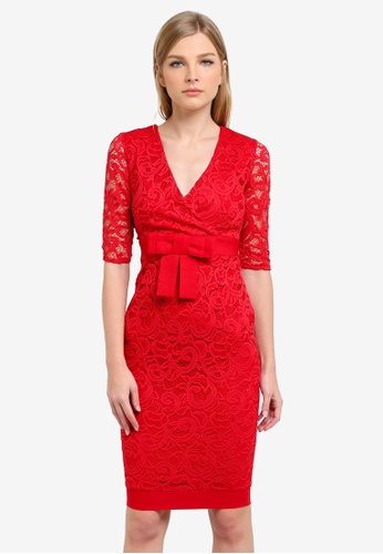 Vesper red Bethany Lace Wrap Pencil Dress VE733AA0S783MY_1