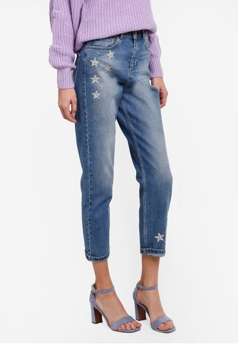 Miss Selfridge blue Mom Silver Star Jeans MI665AA0STCTMY_1