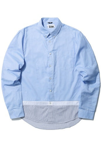 izzue blue Stripe panel shirt 31F31AA619D8D6GS_1